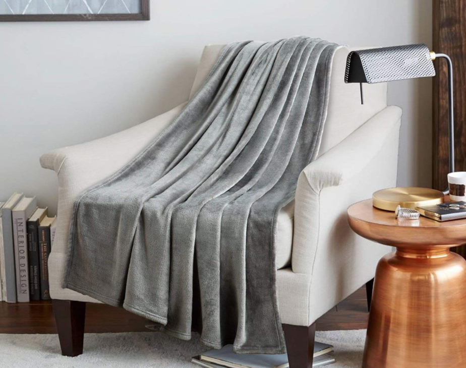 image of a fleece soft blanket in a chair